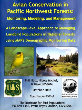 Avian Conservation in Pacific Northwest Forests: Monitoring, Modeling, and Management