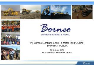 "PT Borneo Lumbung Energi & Metal Tbk (""BORN"") PAPARAN PUBLIK"