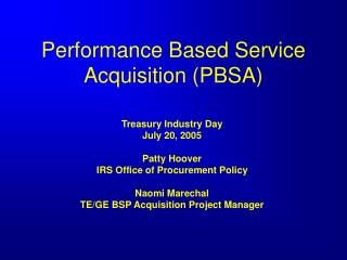 Performance Based Service Acquisition (PBSA)