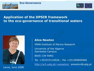 Application of the DPSIR framework  to the eco-governance of transitional waters