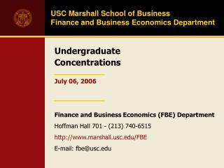 USC Marshall School of Business  Finance and Business Economics Department