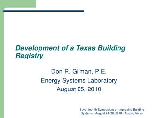 Development of a Texas Building Registry