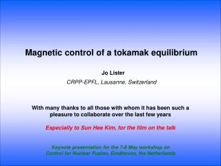 Magnetic control of a tokamak equilibrium