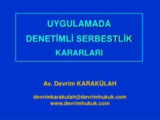 UYGULAMADA DENETİMLİ SERBESTLİK KARARLARI