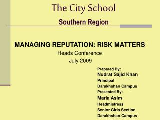 The City School Southern Region