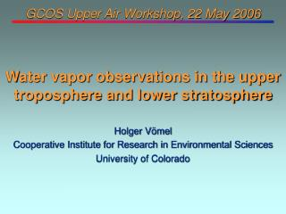 GCOS Upper Air Workshop, 22 May 2006