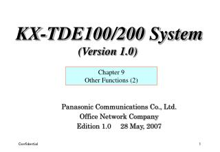 Panasonic Communications Co., Ltd. Office Network Company Edition 1.0     28 May, 2007