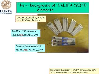 The  g-  background of  C ALIFA  CsI(Tl)          		elements