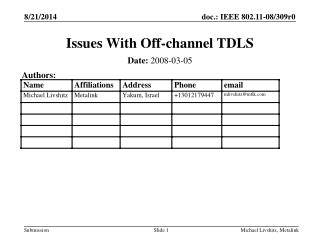 Issues With Off-channel TDLS
