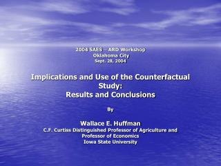 I. Introduction       Preliminary report was given in Baltimore (2002) using