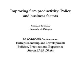 Improving firm productivity: Policy and business factors