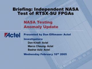 NASA Testing Anomaly Update
