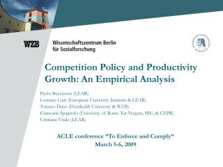 Competition Policy and Productivity Growth: An Empirical Analysis