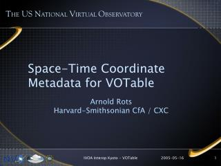 Space-Time Coordinate  Metadata for VOTable