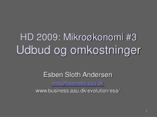 HD 2009: Mikroøkonomi #3 Udbud og omkostninger