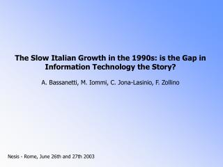 growth accounting analysis of the Italian economic growth over the last twenty years