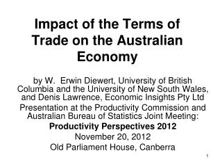 Impact of the Terms of Trade on the Australian Economy