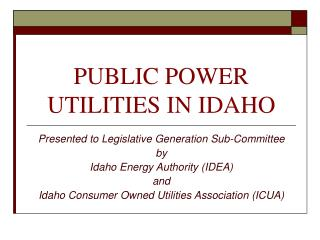 PUBLIC POWER UTILITIES IN IDAHO