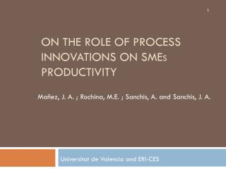 On the  role of  process innovations on SME s productivity