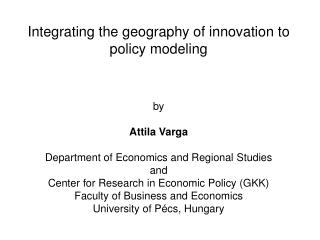 III. Integrating agglomeration effects to development policy modeling