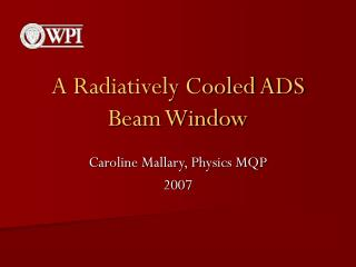 A Radiatively Cooled ADS Beam Window