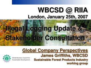 WBCSD @ RIIA London, January 25th, 2007 Illegal Logging Update & Stakeholder Consultation