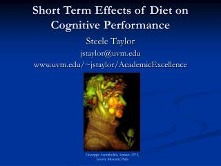 Short Term Effects of Diet on Cognitive Performance