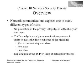 Chapter 10 Network Security Threats Overview
