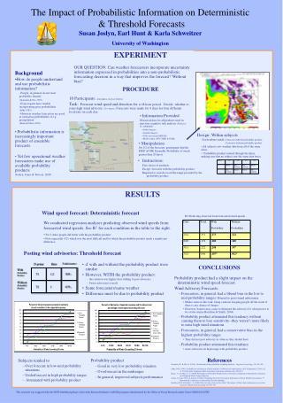 The Impact of Probabilistic Information on Deterministic   Threshold Forecasts  Susan Joslyn, Earl Hunt  Karla Schweitze