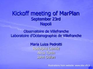 Kickoff meeting of MarPlan September 23rd  Napoli