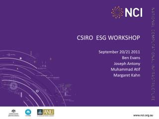 CSIRO  ESG WORKSHOP