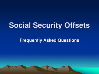 Social Security Offsets