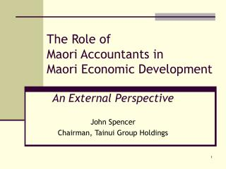 The Role of Maori Accountants in Maori Economic Development
