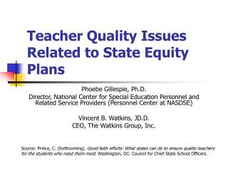 Teacher Quality Issues Related to State Equity Plans