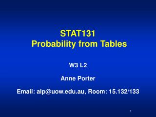 STAT131  Probability from Tables