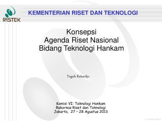 Konsepsi Agenda Riset Nasional Bidang Teknologi Hankam