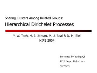 Hierarchical Dirichelet Processes