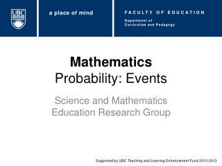 Mathematics Probability: Events