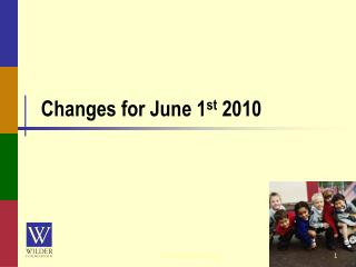 Changes for June 1 st  2010