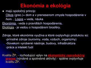 Ekonómia a ekológia