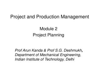 Project and Production Management