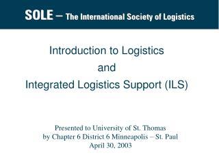SOLE   The International Society of Logistics