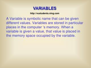 VARIABLES vustudents.ning