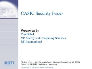 CASIC Security Issues