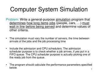 Computer System Simulation