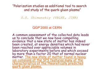 QGP'2000 at CERN