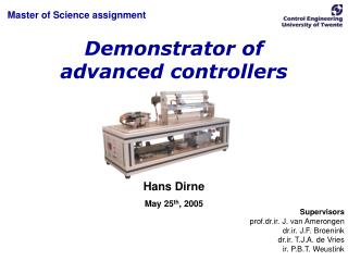 Demonstrator of advanced controllers