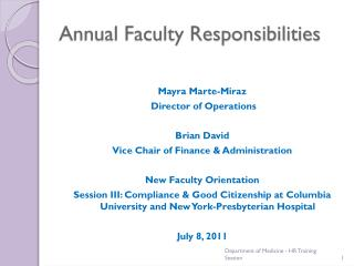 Annual Faculty Responsibilities