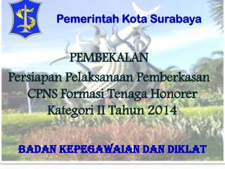 PEMBEKALAN Persiapan Pelaksanaan Pemberkasan CPNS Formasi Tenaga Honorer Kategori II Tahun 2014