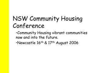 NSW Community Housing Conference